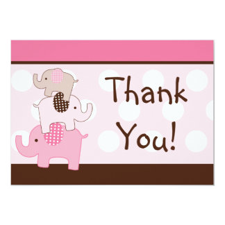 Stacked Pink Elephants Thank You Card