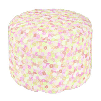 Stacked Pink, Orange and Yellow Hexagons Pouf