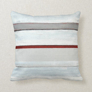 'Stacked' Red and Black Abstract Art Pillow