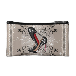 STACKED red bottom heels shoes in SILK SCARF STYLE Cosmetic Bag