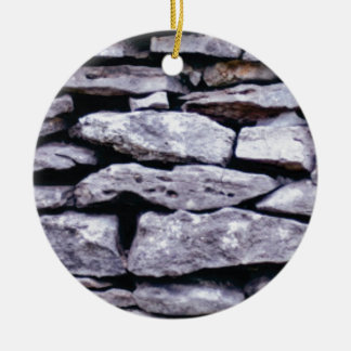 stacked rock wall ceramic ornament