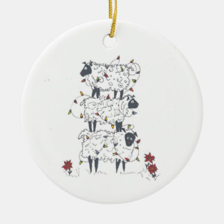 Stacked Sheep at Christmas Ceramic Ornament