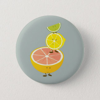 Stacked smiling citrus fruit 2 inch round button