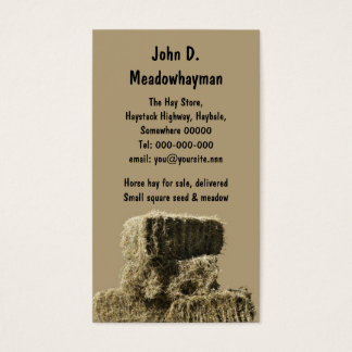 Stacked square hay bales business card