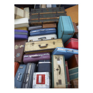 Stacked suitcases postcard