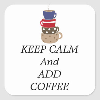 Stacking Coffee Cups Square Sticker