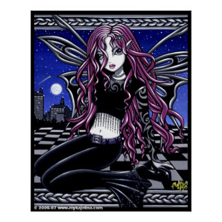 Stacy Pink Feary City Scape Tattooed Poster