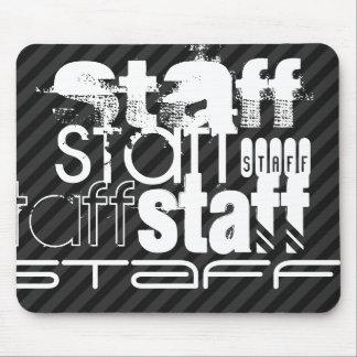 Staff; Black & Dark Gray Stripes Mouse Pad