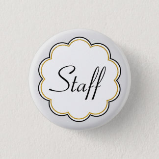 Staff Identification | Gold Border Scallop Party 1 Inch Round Button