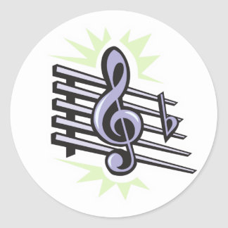 staff treble cleft music note design classic round sticker