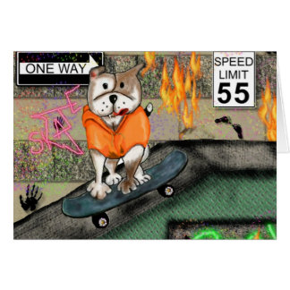 Staffie Smiles - Skater Boy Card