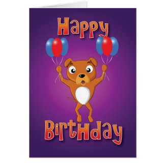staffordshire bull terrier - balloons - happy bday greeting card