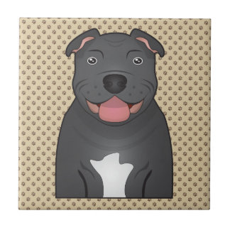 Staffordshire Bull Terrier Cartoon Ceramic Tile