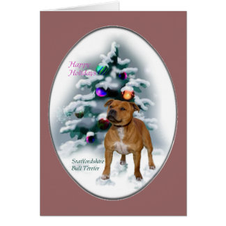 Staffordshire Bull Terrier Christmas Gifts Card