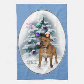 Staffordshire Bull Terrier Christmas Hand Towel