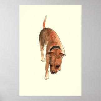 Staffordshire Bull Terrier Fun Watercolour Dog Art Poster