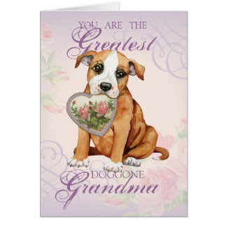 Staffordshire Bull Terrier Heart Grandma Card