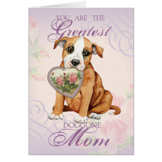 Staffordshire Bull Terrier Heart Mom Card
