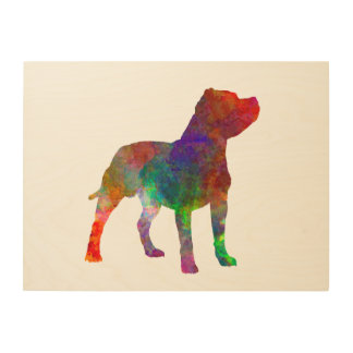 Staffordshire Bull terrier in watercolor Wood Wall Decor