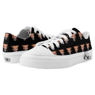 Staffordshire Bull Terrier Pattern, Zipz Sneakers. Low-Top Sneakers