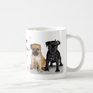 Staffordshire bull terrier puppies coffee mug