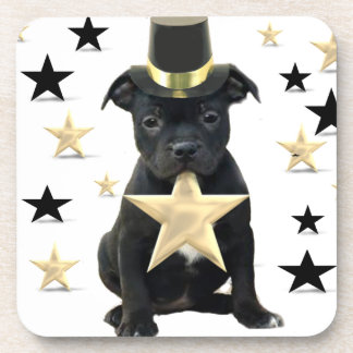 Staffordshire bull terrier puppy drink coaster