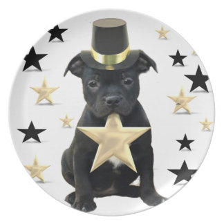 Staffordshire bull terrier puppy party plate
