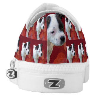 Staffordshire Bull Terrier Puppy, Zipz Sneakers. Low-Top Sneakers