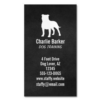 Staffordshire Bull Terrier Silhouette Business Card Magnet