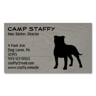 Staffordshire Bull Terrier Silhouette Magnetic Business Card