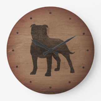 Staffordshire Bull Terrier Silhouette Rustic Style Large Clock