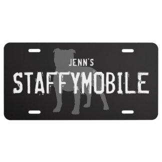 Staffordshire Bull Terrier Silhouette STAFFYMOBILE License Plate