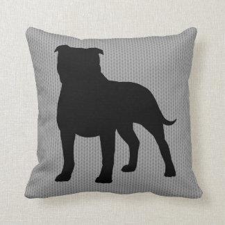 Staffordshire Bull Terrier Silhouette Throw Pillow