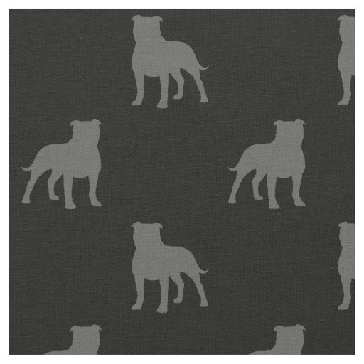 Staffordshire Bull Terrier Silhouettes Pattern Fabric
