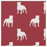 Staffordshire Bull Terrier Silhouettes Pattern Red Fabric