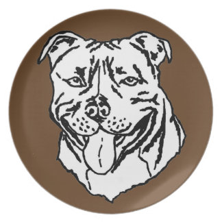 Staffordshire Bull Terrier STAFFY Dinner Plates