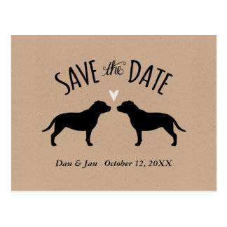 Staffordshire Bull Terriers Wedding Save the Date Postcard