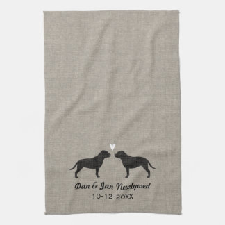 Staffordshire Bull Terriers with Heart and Text Kitchen Towel