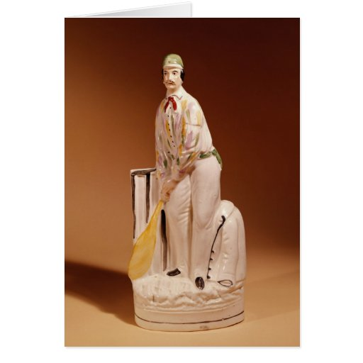 Staffordshire figure of a cricketer, 1865 greeting card