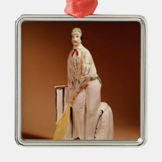 Staffordshire figure of a cricketer, 1865 Silver-Colored square ornament