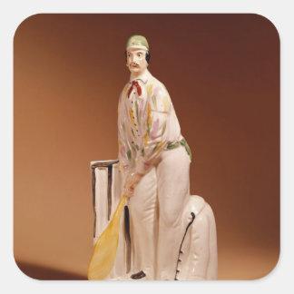 Staffordshire figure of a cricketer, 1865 square sticker