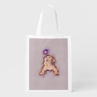 Staffordshire terrier Puppy with Butterfly Reusable Grocery Bag