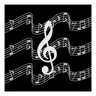 Staffs and Treble Clef on Black Poster
