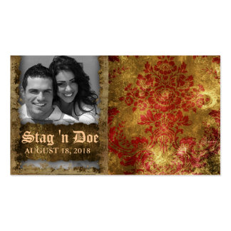 Stag and Doe Tickets Vintage Floral Red Gold Business Card