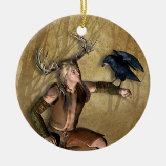 Stag and Raven Personalized Round Ornament