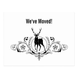 Stag Buck Ornate Swirls Moving Announcement | Postcard