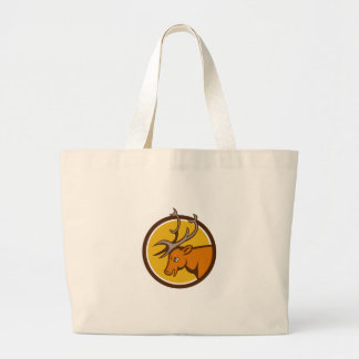 Stag Deer Buck Head Circle Cartoon Large Tote Bag