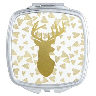 Stag Deer Head Silhouette Compact Mirrors