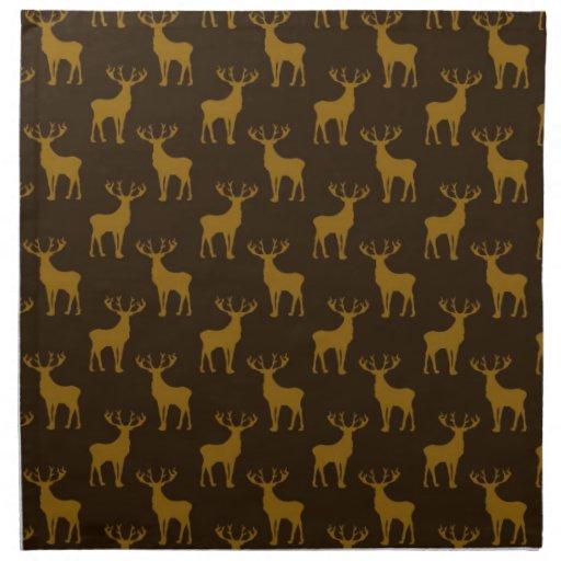 Stag Deer in Brown over Brown Printed Napkins