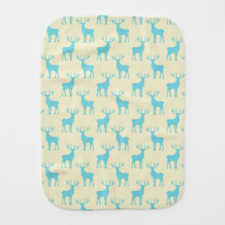 Stag Deer Pattern in Cream and Blue Burp Cloth
